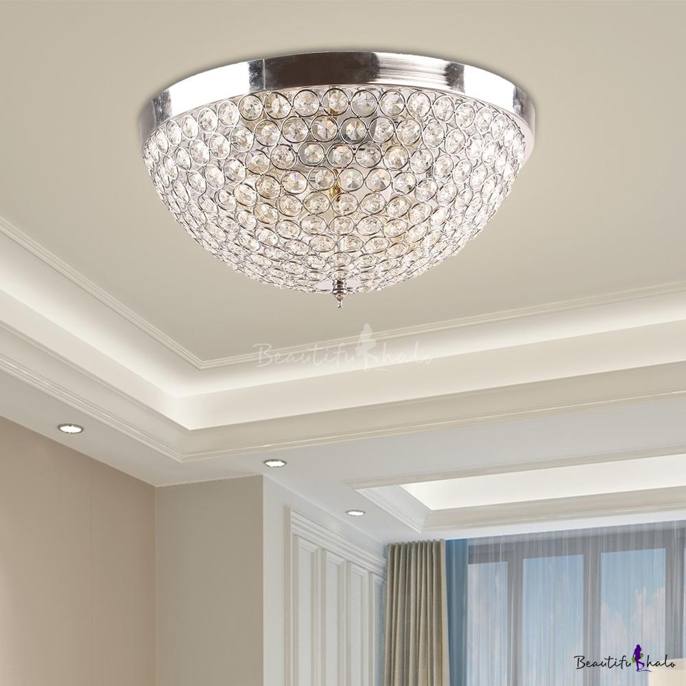 Nickel Crystal Bowl Flush Ceiling Lights Modern Metal Flush Mount Ceiling Lights Living Room