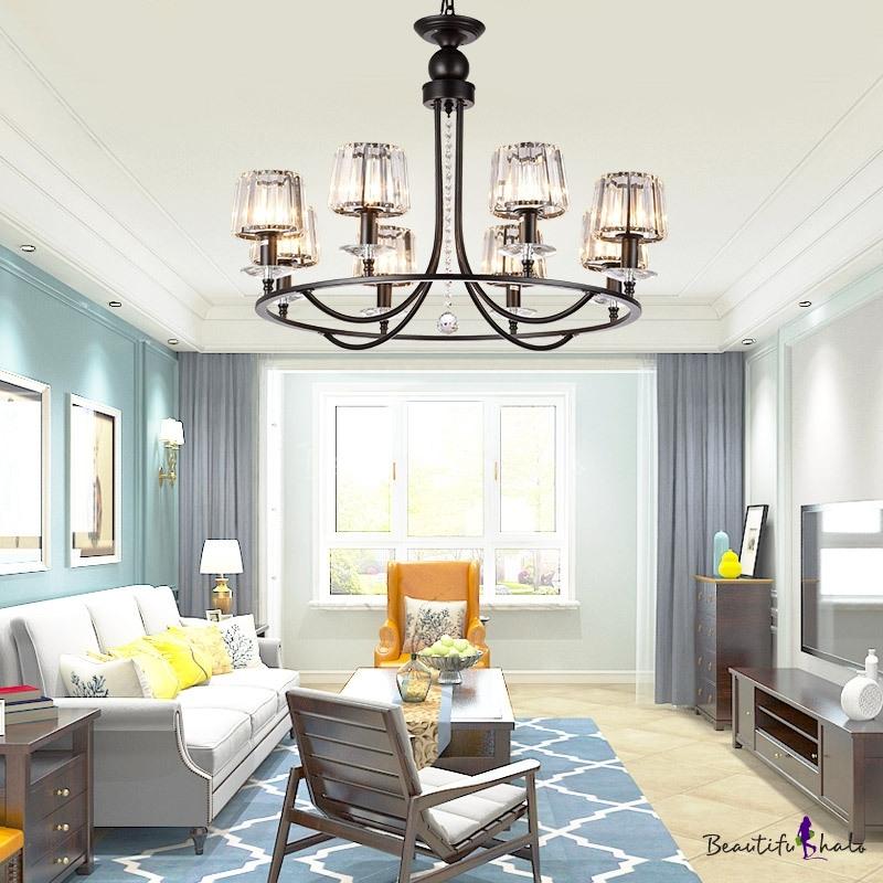 Cylinder Shaded Chandelier Light Modern Iron Crystal Ceiling Chandelier Matte Black Living Room