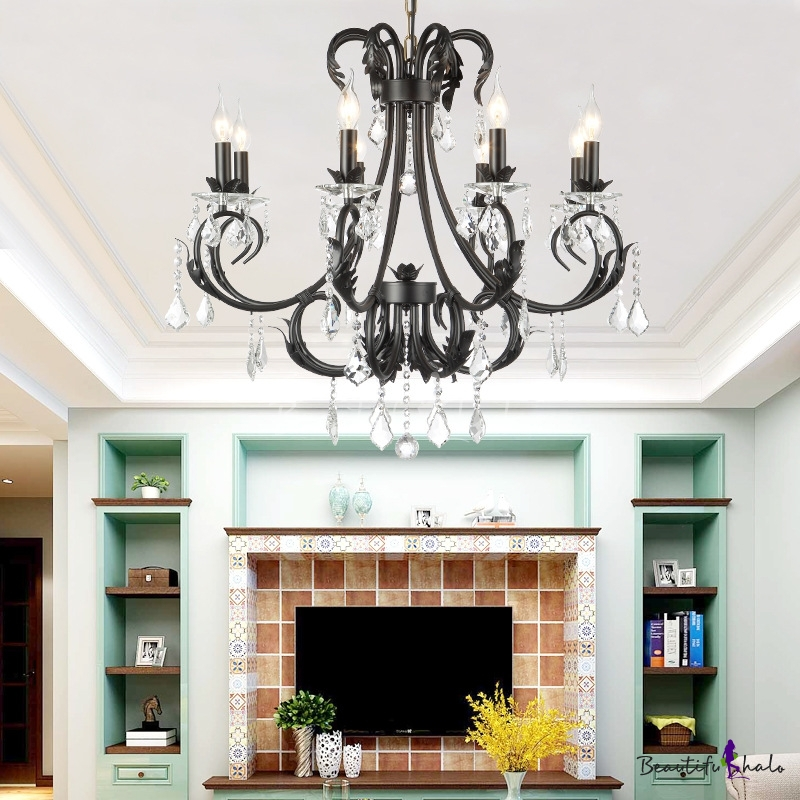 Candle Pendant Chandelier Traditional Metal Crystal Ceiling Pendant Lights Black Living Room
