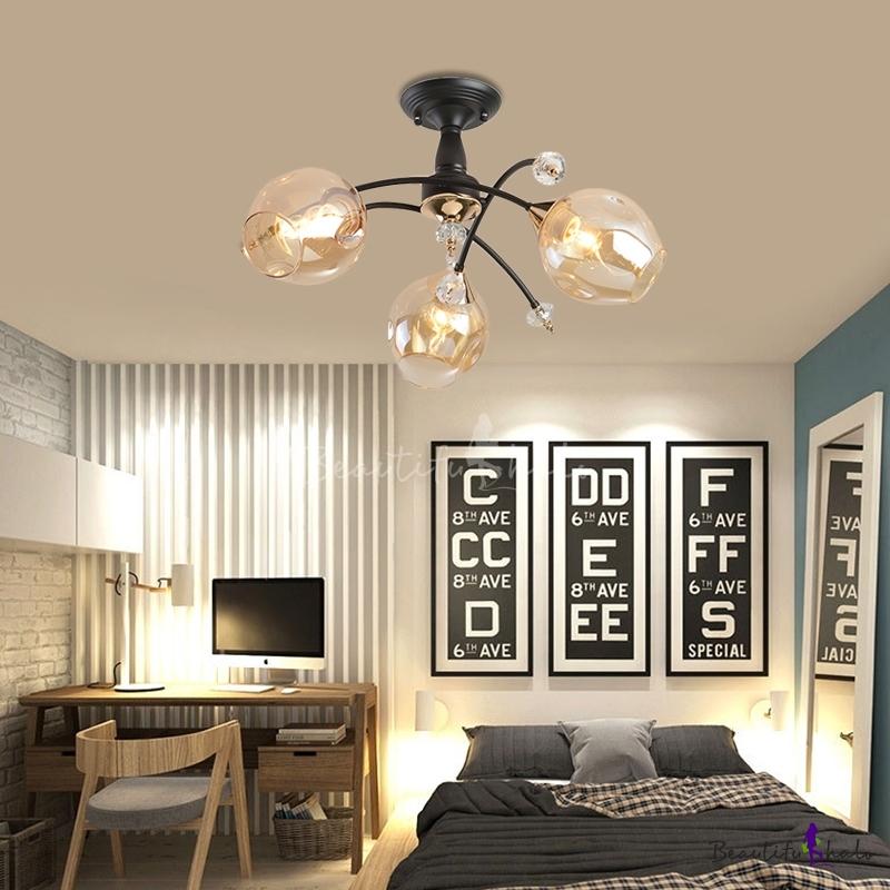 Amber/Blue Curved Semi Flush Mount 3/6 Light Modern Glass Ceiling Light Living Room