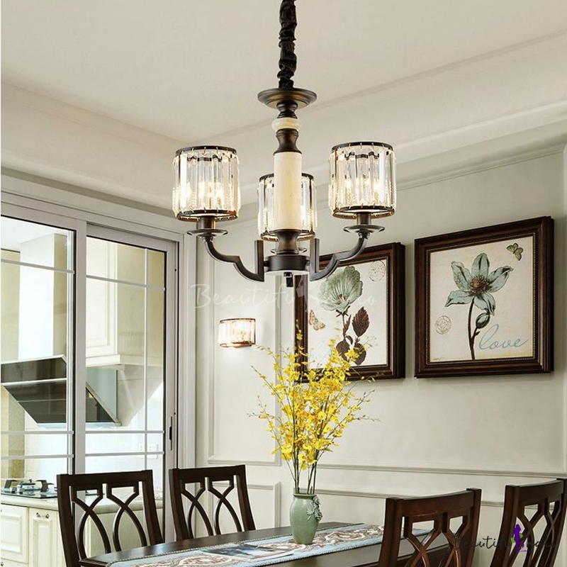 Black Cylindrical Chandelier Light Crystal Iron Pendant Chandelier Living Room Bedroom
