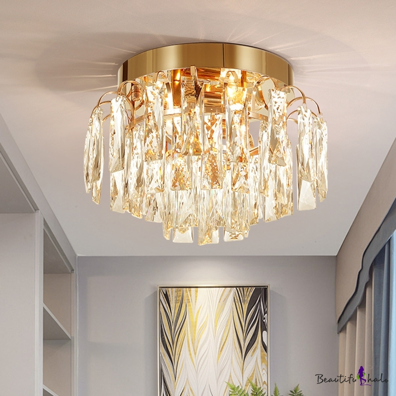 Gold Chrome Led Ceiling Fixture Contemporary Unique Crystal Fringe Ceiling Lights For Corridor Hallway Beautifulhalo Com