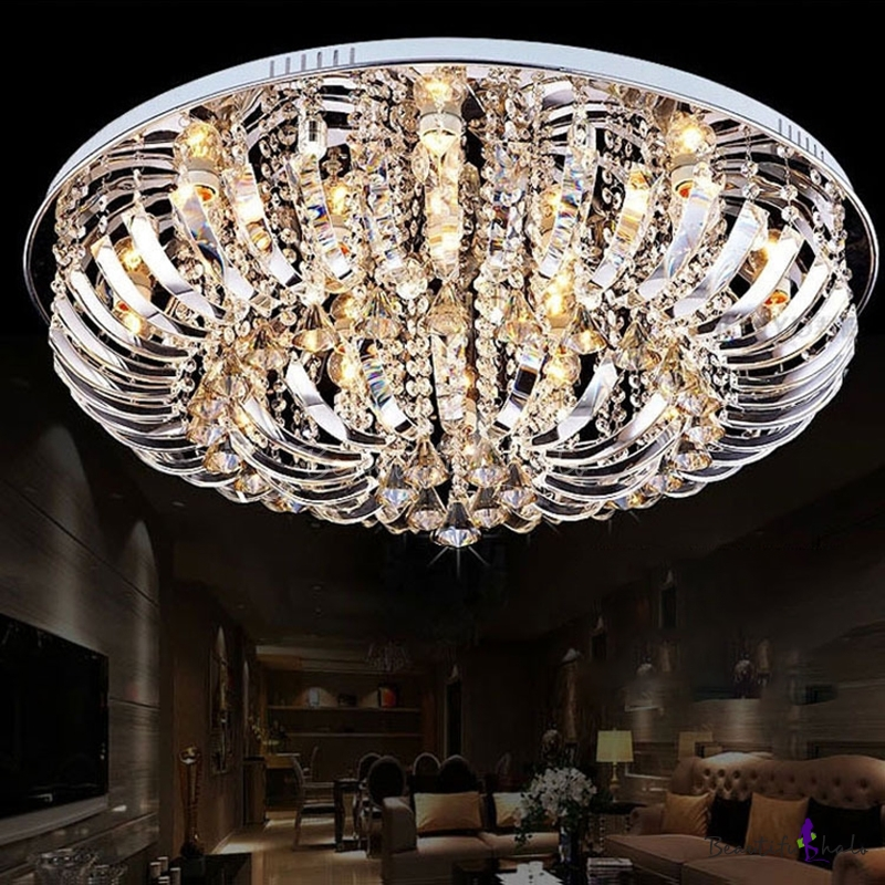 Curved Crystal Fringe Ceiling Light Living Room, Contemporary Creative Round Ceiling Lights Chrome Living Room
