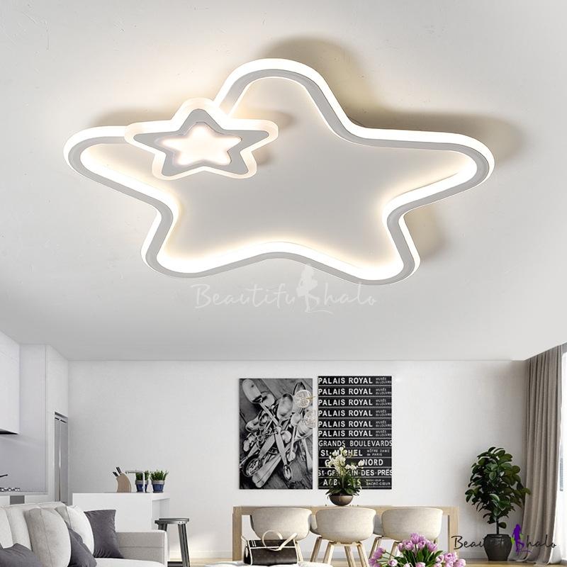 Modern Star Ceiling Lamp Integrated Led Acrylic Flush Mount Ceiling Light Living Room