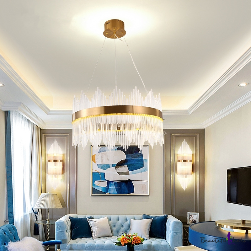 Crystal Round Hanging Ceiling Lights Contemporary Metal Living Room Ceiling Light Fixtures