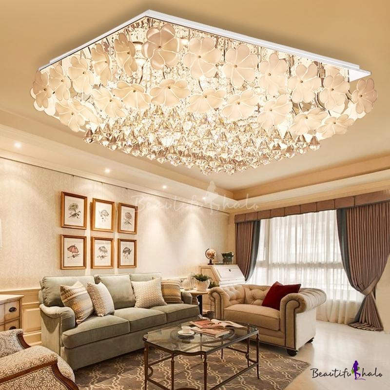 Sparkling Crystal Ceiling Lights Modern Flower Close Ceiling Light Chrome Living Room