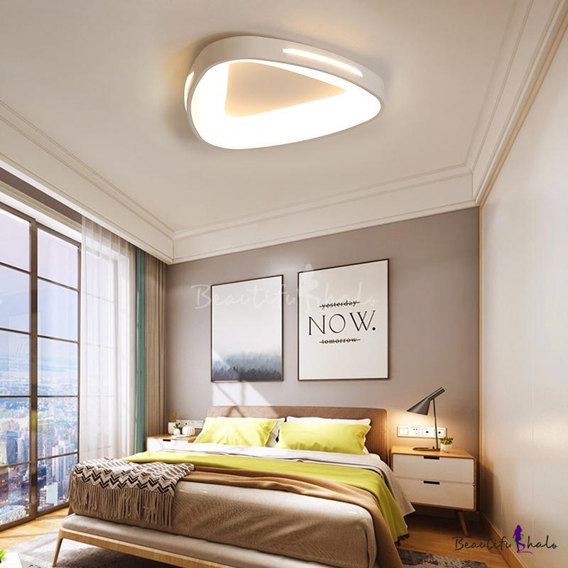 Triangle Living Room Ceiling Flush Lights Acrylic Shade LED Modern Flush Mount Lighting White