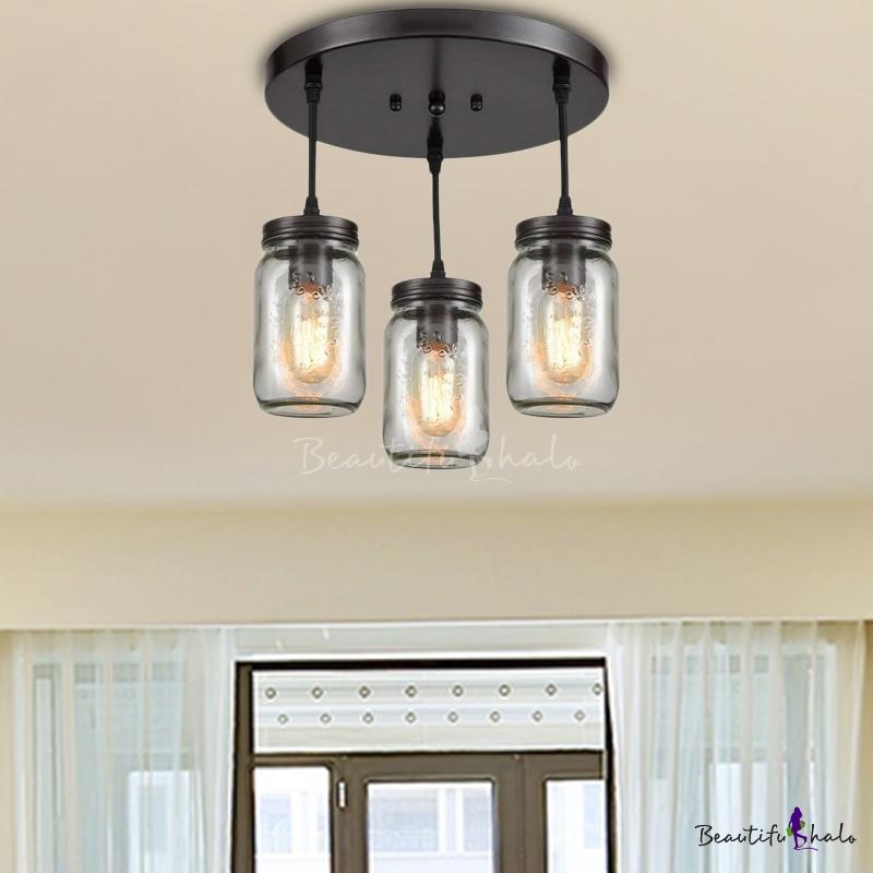 Mason Jar Ceiling Light Fixtures Contemporary Glass 3 Lights Semi Flush Light For Dining Room Beautifulhalo Com