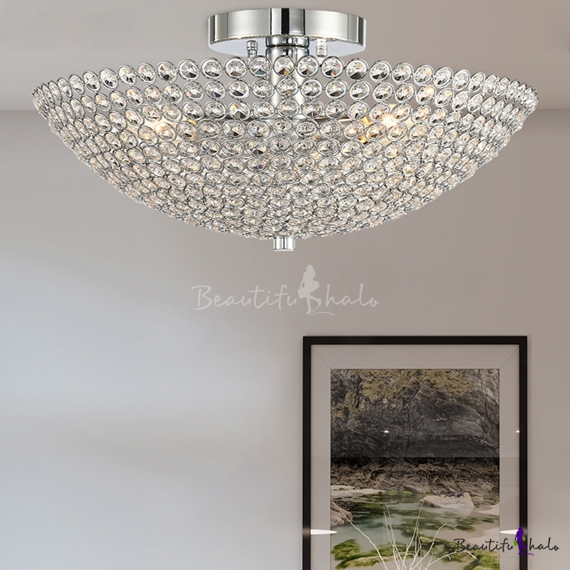 Crystal Bowl Semi Flush Light Modern Metal 3 Head Semi Flush Ceiling Lights Living Room