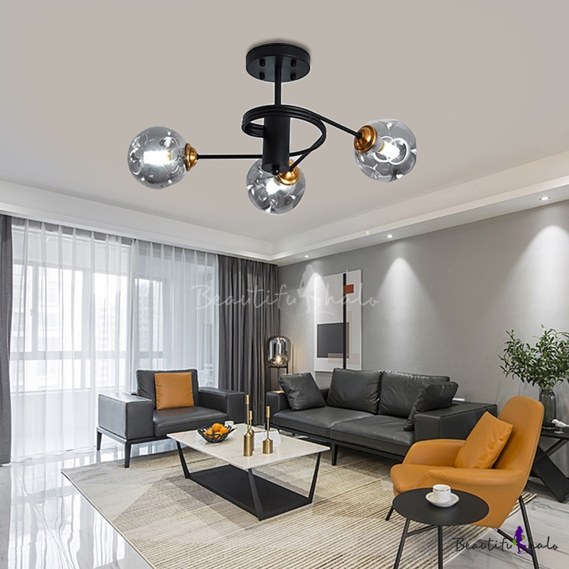 Curved Arms Living Room Semi Flush, Contemporary Living Room Ceiling Lights