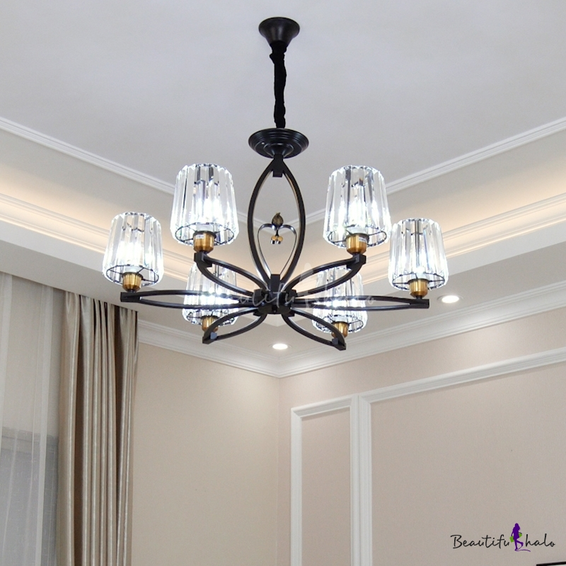 3/6 Lights Cone Chandelier Modern Clear Crystal Pendant Light Brass Finish Living Room