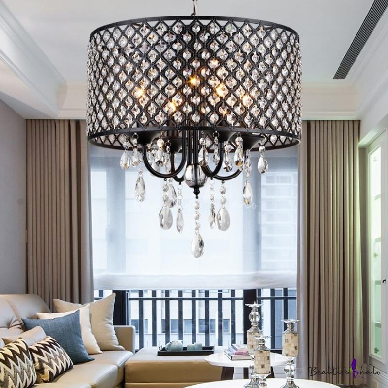 4 Lights Drum Hanging Light Clear Crystal Modern Chandelier Light Black/Chrome