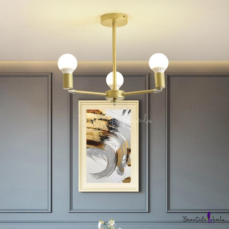 Modern Radial Hanging Ceiling Light Metal Adjustable 3/4/6/8 Heads Gold Indoor Lighting Living Room