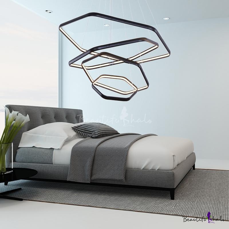 Metal Geometric Chandelier Light Modern Black Led Hanging Pendant Light Living Room