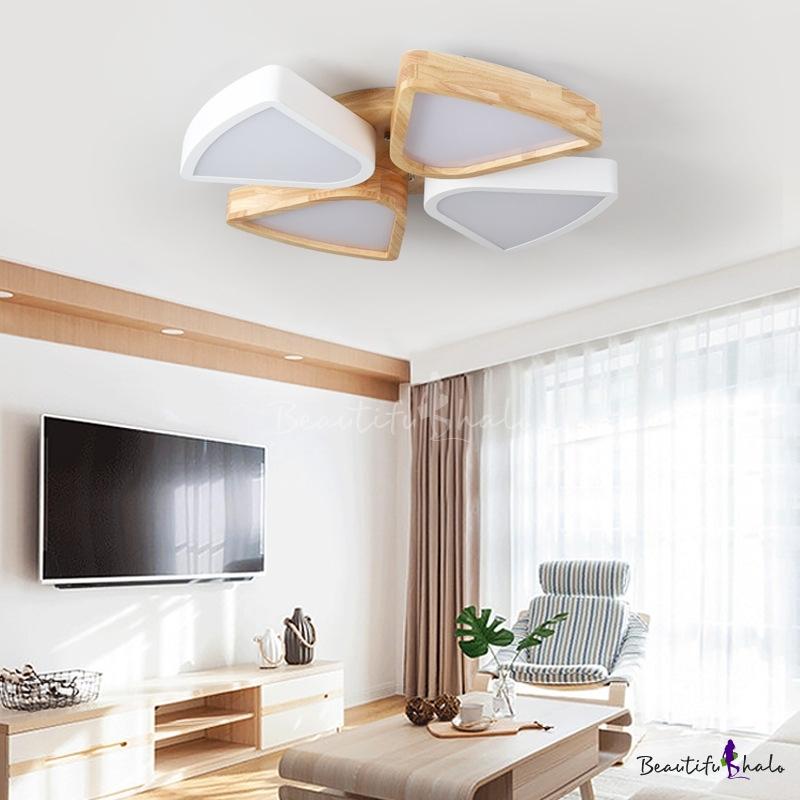 4/6 Lights Living Room Ceiling Lights Flush Mount, Modern Wood Iron Lighting Fixture Warm/White