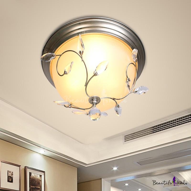 Bowl Flushmount Ceiling Fixture Modern Glass Metal 1 Head Flushmount Lights Crystal Living Room