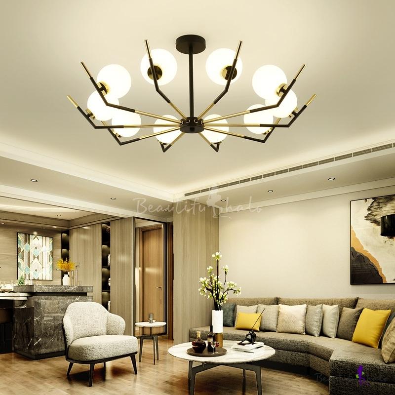 6/8/10 Lights Ball Chandelier Lighting Modern Opal Glass Pendant Lamp Black Living Room