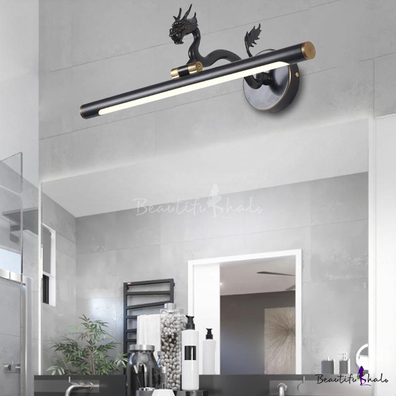 Mid Century Modern Bathroom Vanity, Modern Bathroom Light Fixtures Black And White
