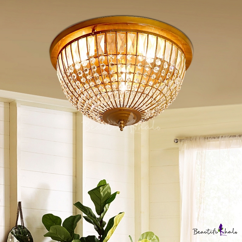 Crystal Bowl Flush Mount Ceiling Light Modern Iron Mesh Flush Ceiling Lights Bedroom