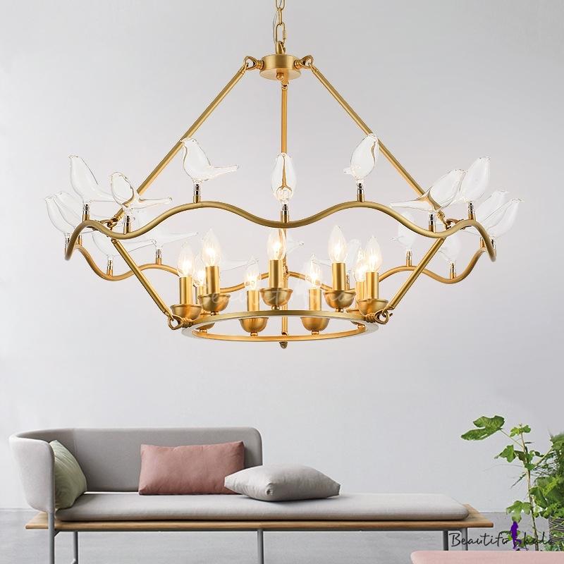 Gold Candle Hanging Chandelier Light Vintage Modern Metal 6/9 Lights Indoor Pendant Light Living Room