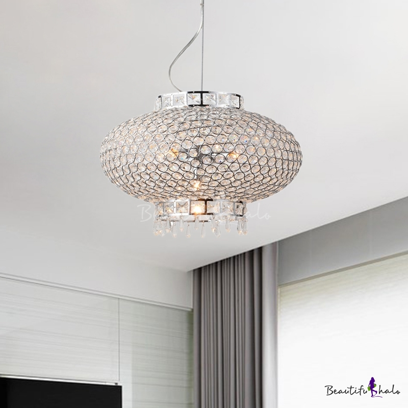 Crystal Bead Lantern Chandelier Lighting Contemporary 4 Lights Chrome Hanging Light For Foyer Beautifulhalo Com