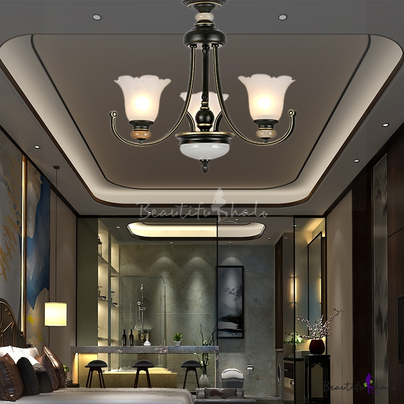 Frosted Glass Scalloped Hanging Ceiling Light 3/6/8/10/12 Heads Modern Ceiling Chandelier Black Living Room