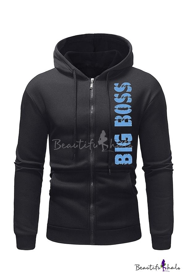 Blue Letter BIG BOSS Printed Long Sleeve Zip Drawstring Hoodie