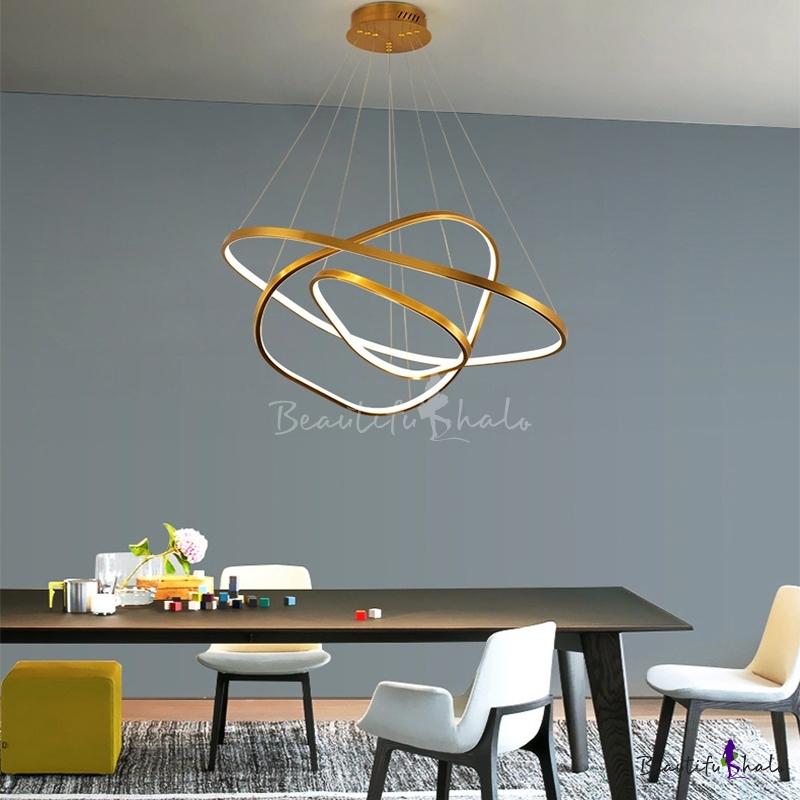 Brass Triangle Hanging Light Modern Integrated Led Metal Ceiling Chandelier Foyer