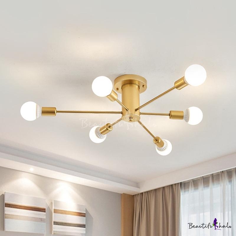 Mid Century Modern Sputnik Ceiling Light Metallic 6 8 10 Lights Gold Semi Flush Lighting Beautifulhalo Com