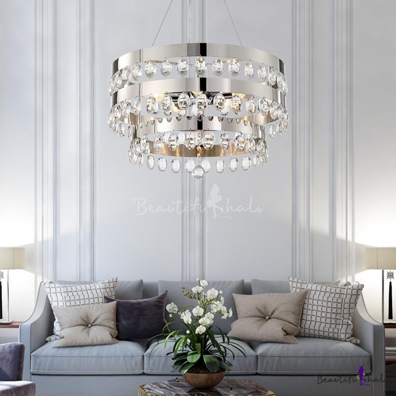 Round Crystal Hanging Ceiling Lights Bedroom, Modern Metal Unique Chandelier Chrome