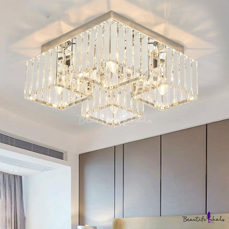 Modern Squared Flush Mount Lighting Clear K9 Crystal 4/6 Heads Flush Ceiling Lamp Chrome