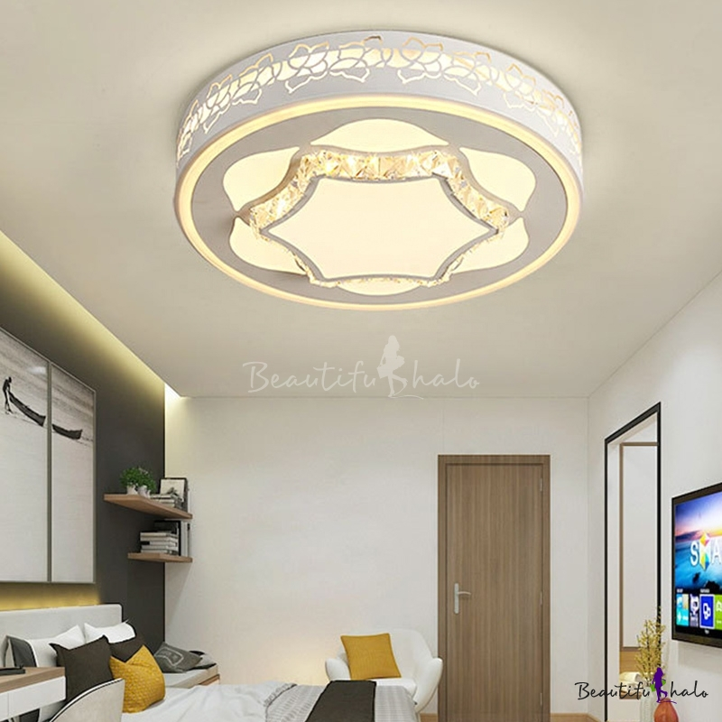 LED Drum Flush Mount Lamp Modern White Acrylic Ceiling Mounted Fixture Living Room White/3 Color Light/Remote Control Stepless Dimming Flower Pattern