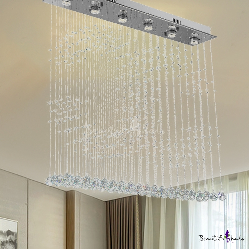Nickel Double C Shaped Flush Mount Lamp Simple Style 6 Lights Crystal Flush Ceiling Light