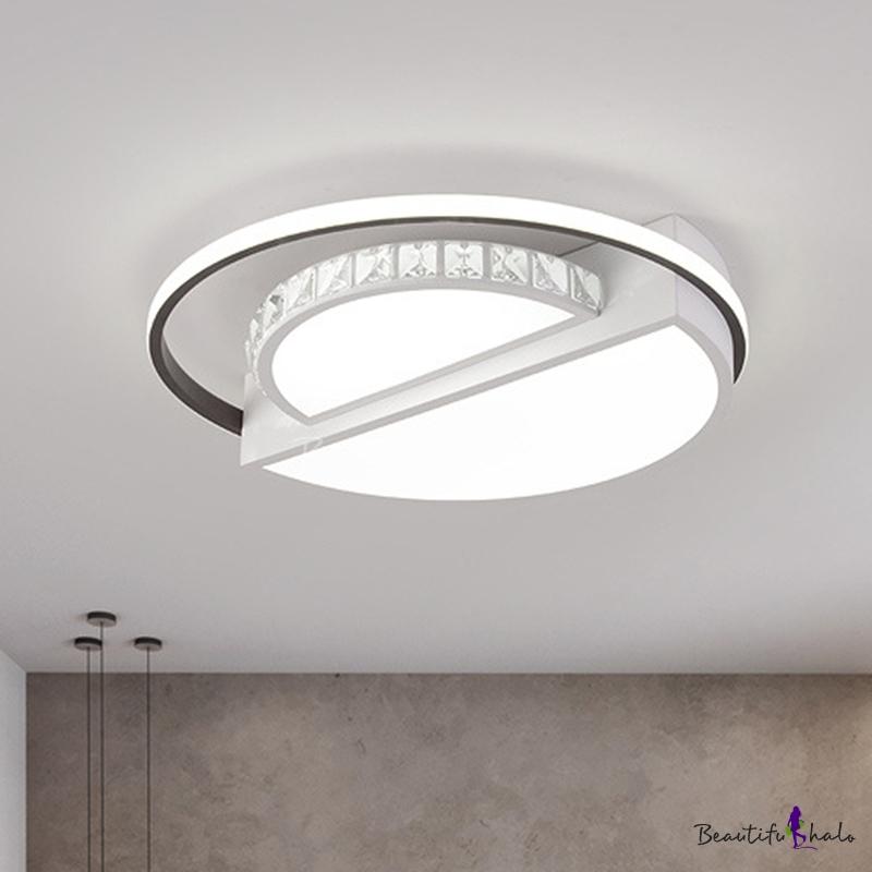 White Round Flush Mount Simple Style Crystal LED Living Room Flush Ceiling Light Fixture