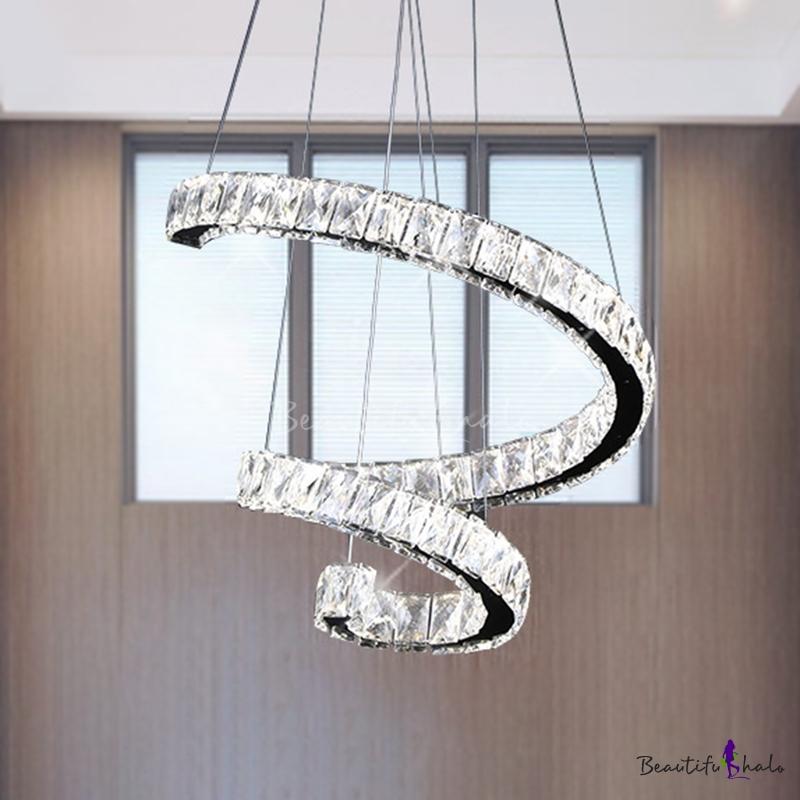 """19""""/23.5""""/31.5"""" Wide LED Pendant Lighting Modern Spiral Crystal Hanging Chandelier Chrome Living Room"""
