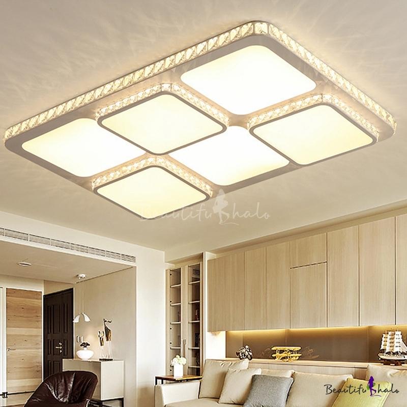 LED Crystal Flush Mount Lighting Fixture Modern White Square Living Room Close Ceiling Light White/Warm Light