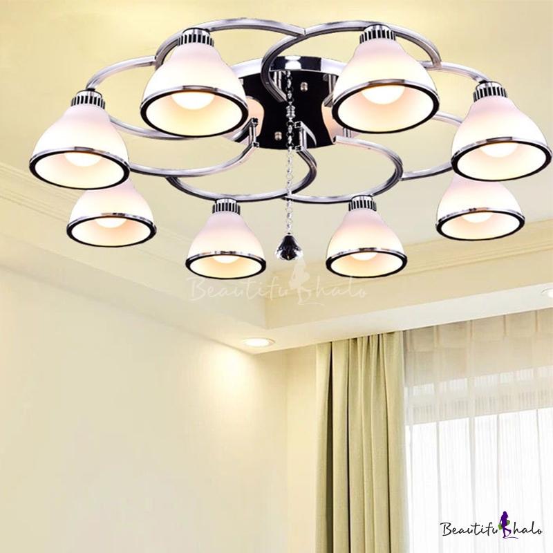 Conical Semi Flush Ceiling Light Simple Opal Glass 8 Lights Chrome Semi Mount Lighting Living Room Crystal Drop