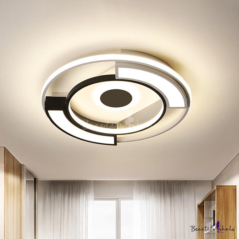 "Modern Circular Flush Light Metal Acrylic Black White Led Surface Mount Ceiling Lights Living Room, 16""/19.5"" W"