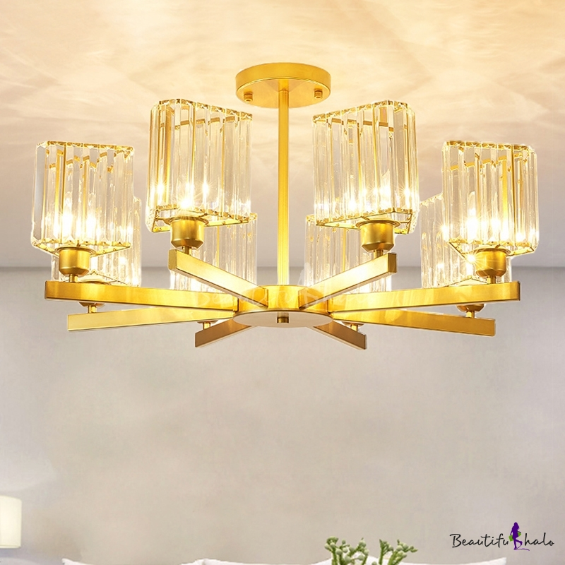 Gold Rectangle Semi Flush Mount Contemporary Crystal 3/6/8 Lights Living Room Ceiling Light Fixture