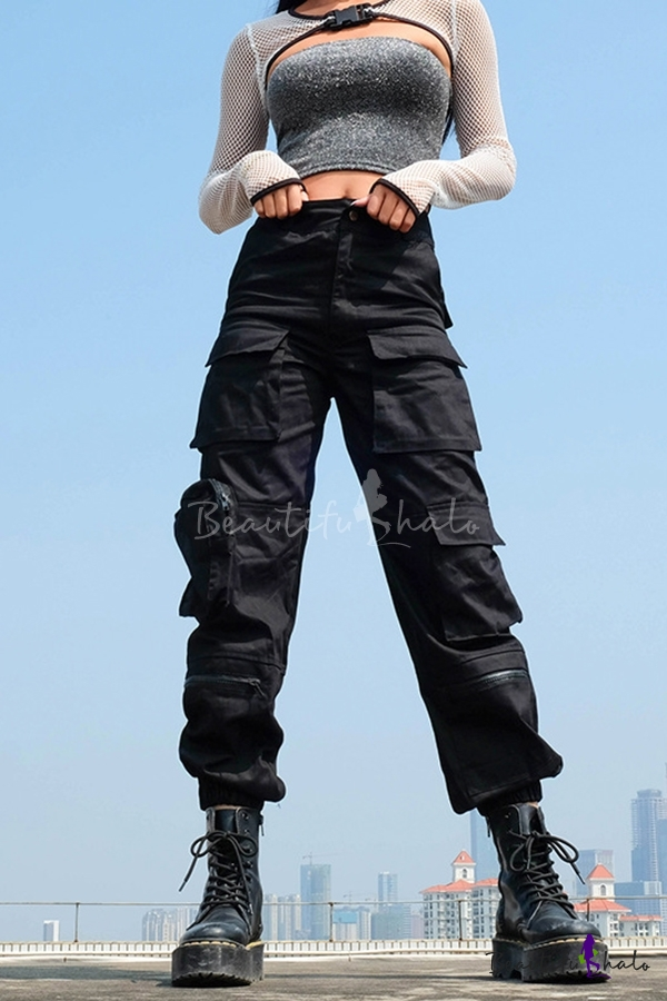 Cool Casual Mid Rise Utility Cuffed Ankle Black Baggy Cargo Pants For Women Beautifulhalo Com