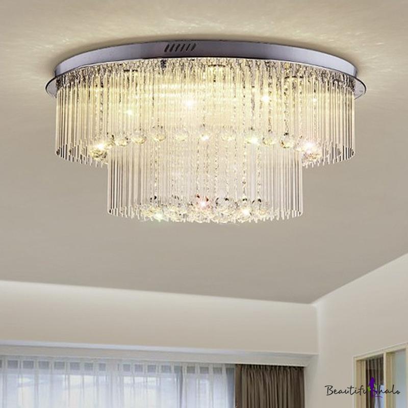 2 Layers Crystal Rod Ceiling Light Fixture Modern Nickel LED Flush Mount Light Living Room