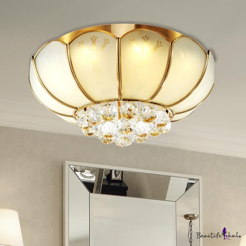 Flower Flush Mount Light Modernist White Glass 4/6 Lights Living Room Flushmount Ceiling Fixture Crystal Ball Finial