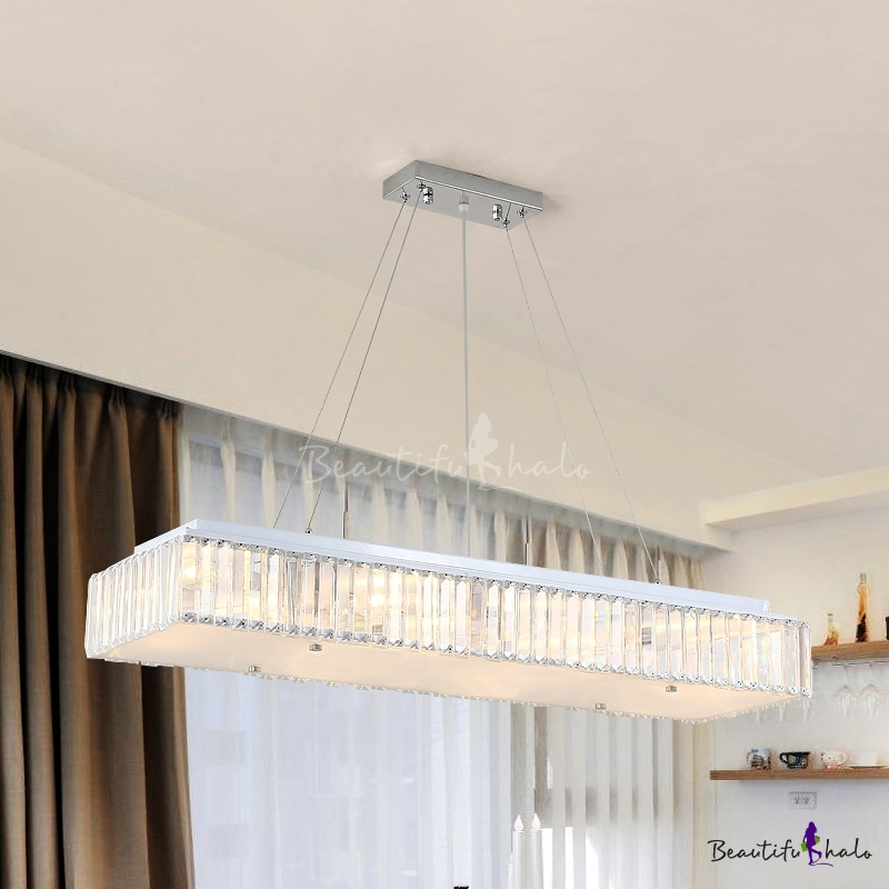 Modern Pendant Lamp With Glass Diffuser, Hybris 8 Light Crystal Chandelier