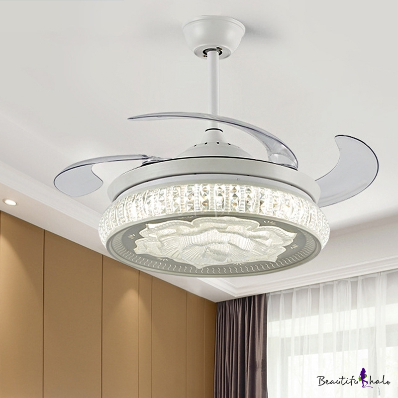 Simple Rose Ceiling Fan Light Faceted Crystal Led White Semi Flush Mount Lamp With Remote Control Wall Control Remote Wall Contro Beautifulhalo Com