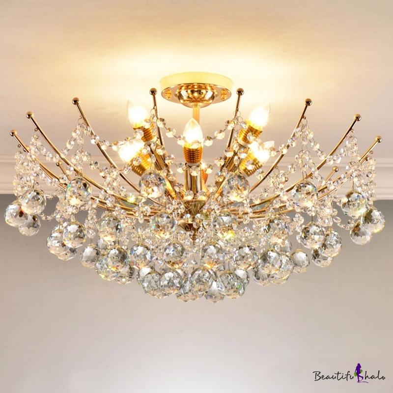 Cascade Crystal Ball Semi Flush Light Modern Chrome/Gold/Cognac LED Ceiling Light Fixture Living Room