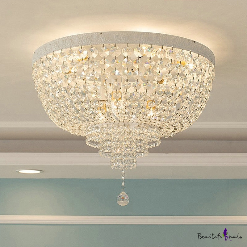 """12""""/16""""/19.5"""" Wide LED Flush Ceiling Light Simple Domed Shaped Clear Crystal Flush Mount Fixture Living Room"""