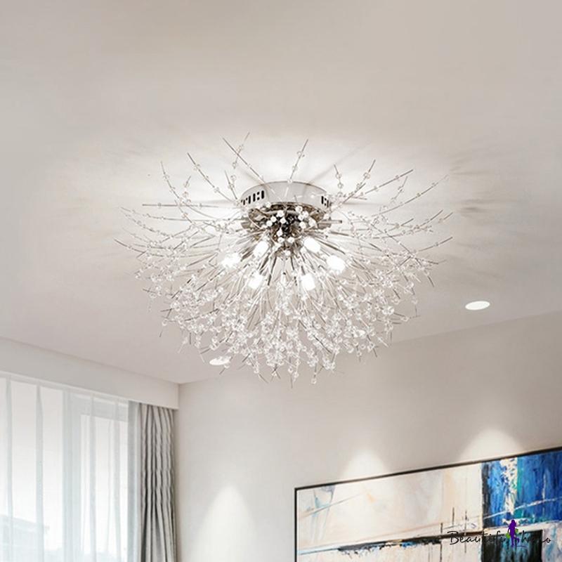 """6/8 Lights 23.5""""/27.5"""" W Flush Ceiling Light Modern Radial Crystal Flush Mount Lighting Silver/Gold Living Room White/Warm Light"""