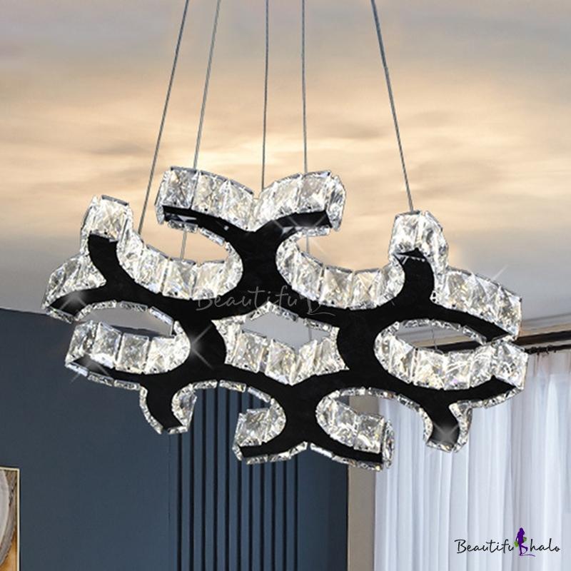 LED Chandelier Pendant Modern C-Shaped Crystal Hanging Ceiling Light Black Living Room