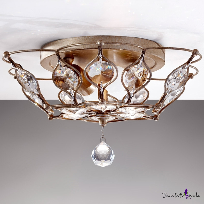 Bowl Flush Mount Lighting Modern Crystal 2 Lights Living Room Flush Light Fixture Chrome
