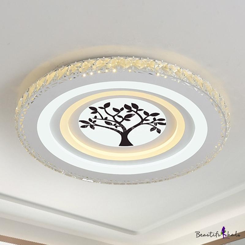LED Crystal Flush Mount Lighting Fixture Simple White Tree/Mountain/Crane Living Room Close Ceiling Light